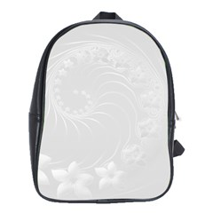 Light Gray Abstract Flowers School Bag (xl)
