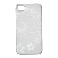 Light Gray Abstract Flowers Apple iPhone 4/4S Hardshell Case with Stand