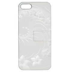 Light Gray Abstract Flowers Apple iPhone 5 Hardshell Case with Stand