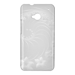 Light Gray Abstract Flowers HTC One M7 Hardshell Case
