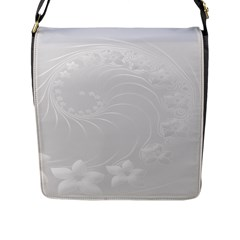 Light Gray Abstract Flowers Flap Closure Messenger Bag (Large)