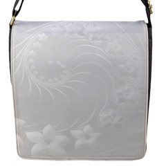 Light Gray Abstract Flowers Flap closure messenger bag (Small)