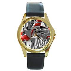 TT RED HEELS Round Metal Watch (Gold Rim)