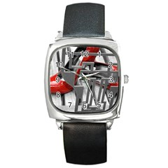 TT RED HEELS Square Leather Watch
