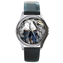 COWBOYS Round Metal Watch (Silver Rim)