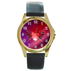 9108 Round Metal Watch (gold Rim)