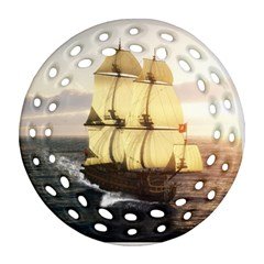 French Warship Round Filigree Ornament (Two Sides)