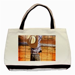 Little Cowboy Twin Sided Black Tote Bag