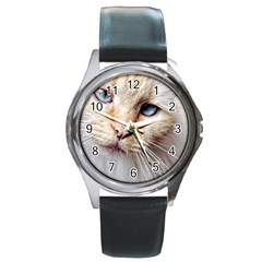 Blue Eyes Round Metal Watch (silver Rim)