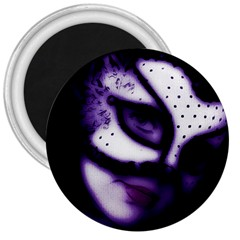 PURPLE M 3  Button Magnet