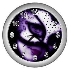 Purple M Wall Clock (silver)