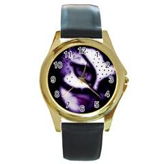 PURPLE M Round Metal Watch (Gold Rim)