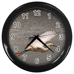 flying crane Wall Clock (Black)
