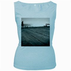 Laguna Beach Walk Womens  Tank Top (Baby Blue)
