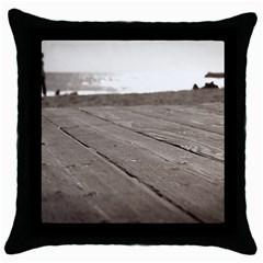 Laguna Beach Walk Black Throw Pillow Case