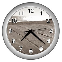 Laguna Beach Walk Wall Clock (Silver)