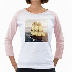French Warship Womens  Long Sleeve Raglan T-shirt (White)