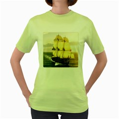 French Warship Womens  T-shirt (Green)
