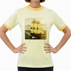 French Warship Womens  Ringer T Shirt (colored)