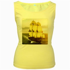 French Warship Womens  Tank Top (Yellow)