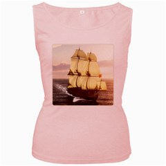 French Warship Womens  Tank Top (pink)