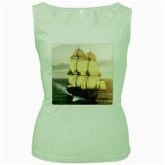 French Warship Womens  Tank Top (Green)
