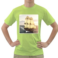 French Warship Mens  T-shirt (Green)