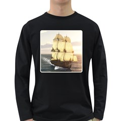 French Warship Mens' Long Sleeve T-shirt (Dark Colored)