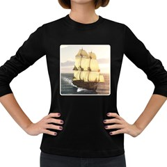French Warship Womens' Long Sleeve T-shirt (Dark Colored)