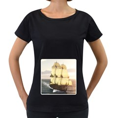 French Warship Womens' Maternity T-shirt (Black)