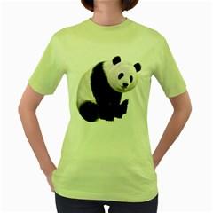 Panda Bear Womens  T-shirt (Green)