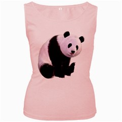Panda Bear Womens  Tank Top (Pink)