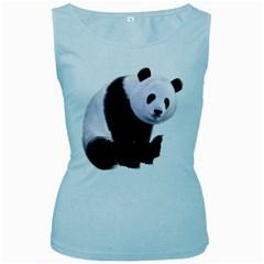 Panda Bear Womens  Tank Top (baby Blue)
