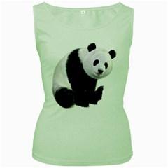Panda Bear Womens  Tank Top (green)