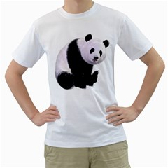 Panda Bear Mens  T-shirt (White)