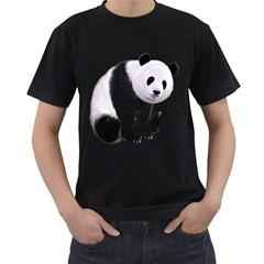 Panda Bear Mens' Two Sided T Shirt (black)