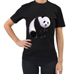 Panda Bear Womens' Two Sided T-shirt (Black)