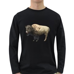 Bison Mens' Long Sleeve T-shirt (Dark Colored)