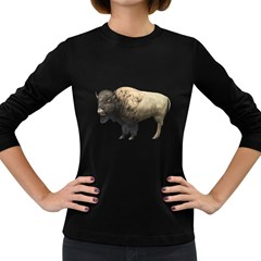 Bison Womens' Long Sleeve T-shirt (Dark Colored)