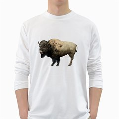 Bison Mens' Long Sleeve T-shirt (White)