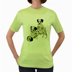 Dalmatian Puppies 1 Womens  T Shirt (green)