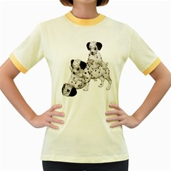 Dalmatian Puppies 1 Womens  Ringer T Shirt (colored)
