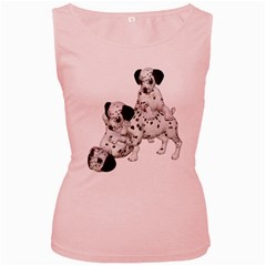 Dalmatian puppies 1 Womens  Tank Top (Pink)
