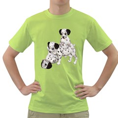 Dalmatian Puppies 1 Mens  T Shirt (green)