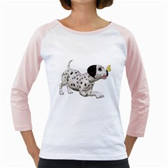 Dalmatian puppies 2 Womens  Long Sleeve Raglan T-shirt (White)