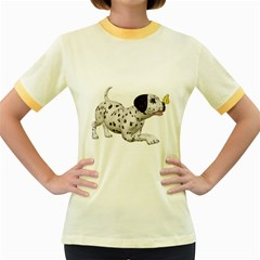 Dalmatian puppies 2 Womens  Ringer T-shirt (Colored)