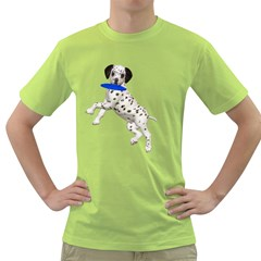 Dalmatian puppies 3 Mens  T-shirt (Green)