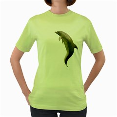Dolphin 2 Womens  T-shirt (Green)