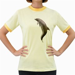Dolphin 2 Womens  Ringer T-shirt (Colored)