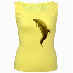 Dolphin 2 Womens  Tank Top (Yellow)